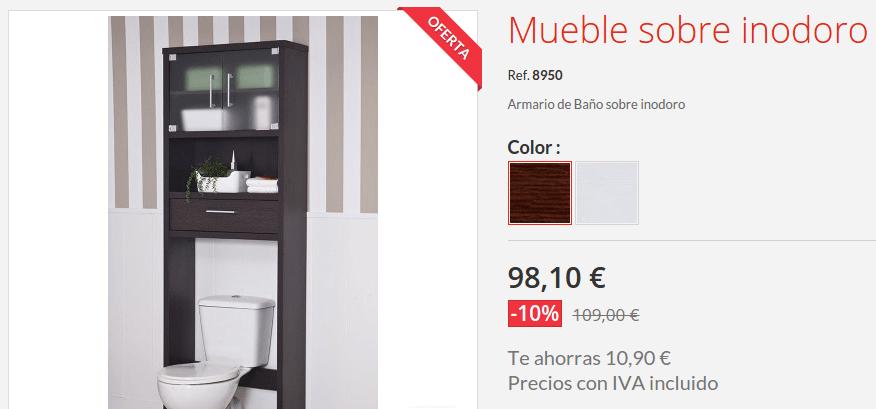Mueble Baño Sobre Inodoro:Este pequeño armario para el lavabo disponible en dos colores (blanco