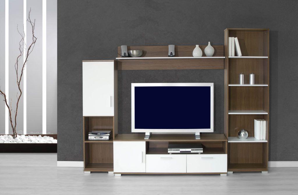 Color pared salon mueble blanco mueble de saln modular for Mueble modular blanco